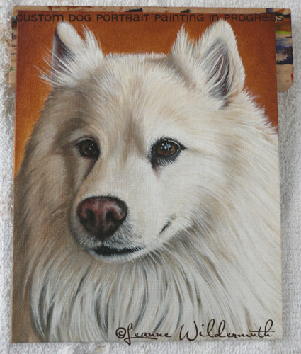dog portrait work in progress original oil painting leanne wildermuth art' class=