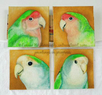 lovebird oil painting  pet bird portrait custom oil fine art
