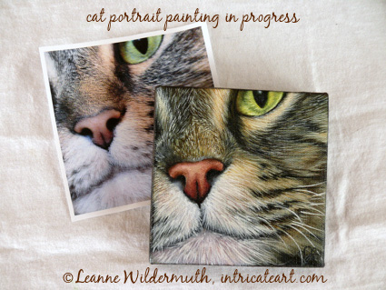 custom cat portrait original oil painting in progress leanne wildermuth artist' class=