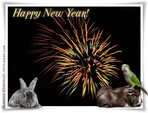 happy new year from intricateart.com and her whole family of critters!