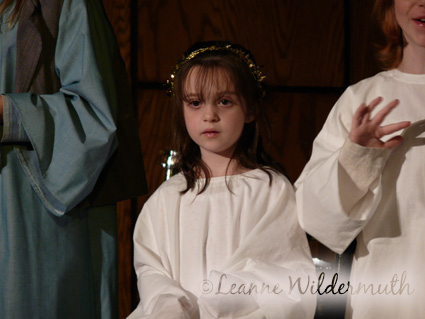 mini me angel stage freight Church Christmas Program 2007' class=