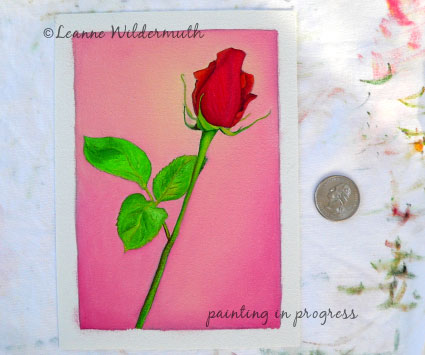 red rose original custom oil painting valentines day