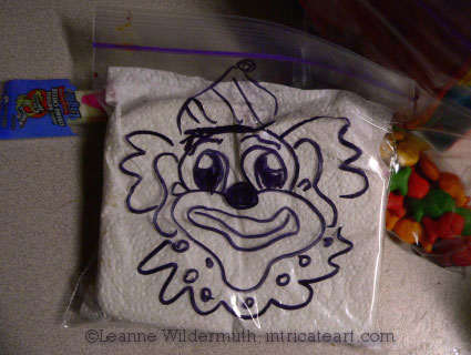 sandwich bag art clown