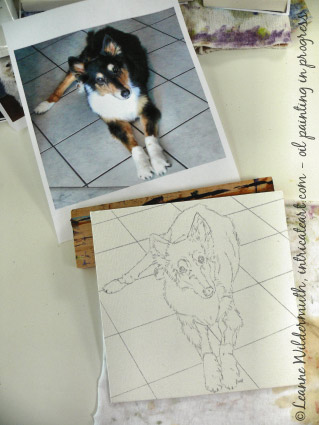 custom dog portrait oil painting progress sketch' class=