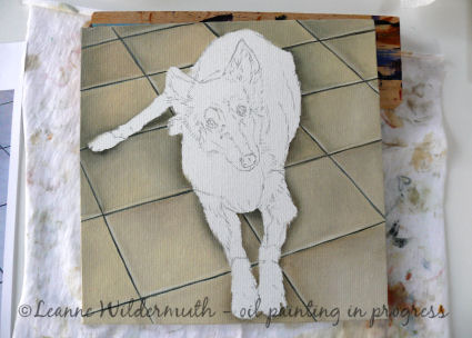 custom monochromatic oil dog portrait painting work in progress' class=