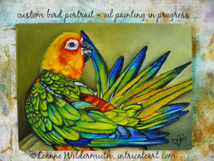 custom sun conure bird portrait tail feather oil painting preening original art leanne wildermuth' class=