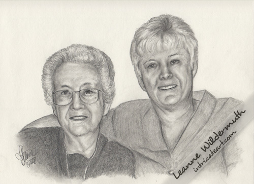 Custom graphite pencil portrait Audrey and Janeice drawing by Leanne Wildermuth