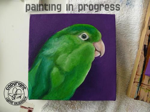 custom bird portrait painting in progress