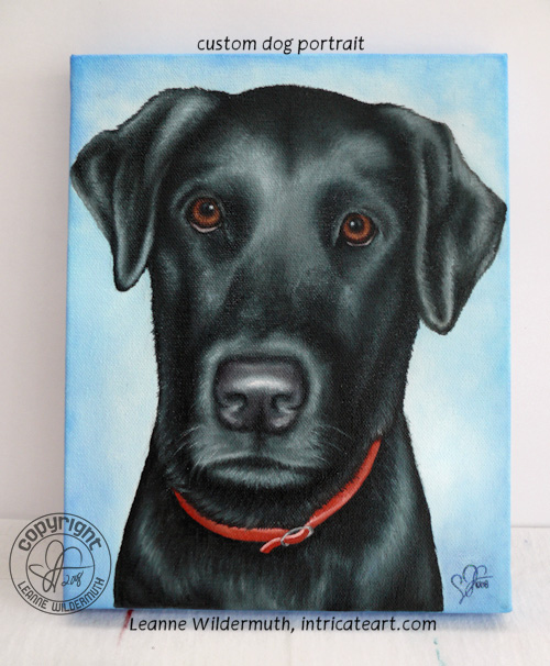 custom black lab dog portrait painting leanne wildermuth