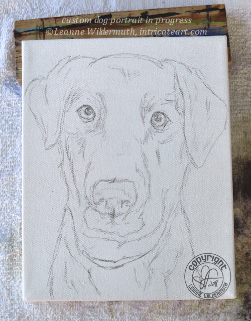 dog portrait sketch black lab painting original custom art leanne wildermuth
