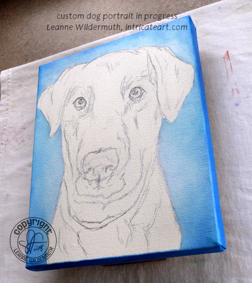 Black lab dog portrait custom oil painting leanne wildermuth