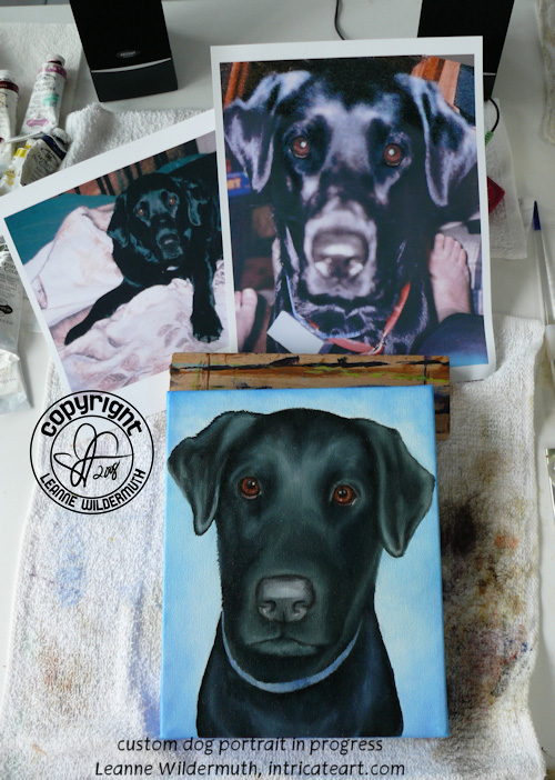 black lab dog portrait custom art leanne wildermuth