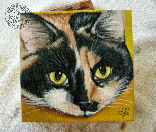 custom cat portrait calico oil painting leanne wildermuth