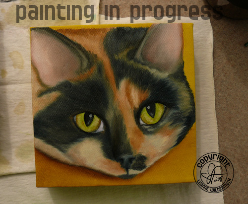 Calico portrait oil painting in progress