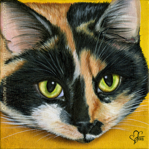 custom cat portrait calico oil painting fine art leanne wildermuth