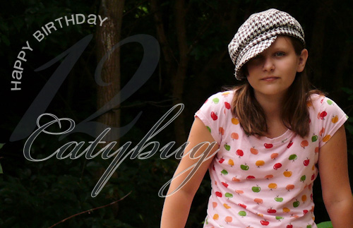 catybug birthday card graphic design