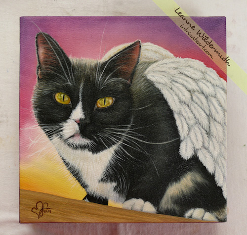 tuxedo cat angel wings custom oil portrait by Leanne Wildermuth
