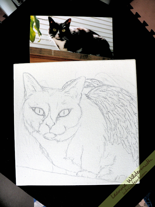 cat portrait tuxedo angel wings oil painting sketch by Leanne Wildermuth