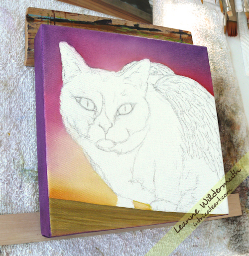 tuxedo cat portrait memorial oil painting progress by Leanne Wildermuth