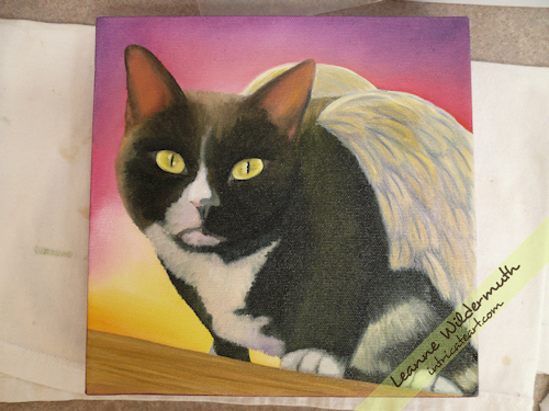 angel cat tuxedo portrait painting progress by Leanne Wildermuth