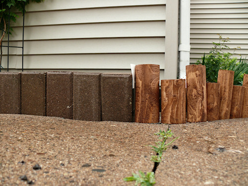 edging cedar log pavers