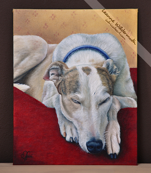 greyhound oil painting memorial portrait by Leanne Wildermuth
