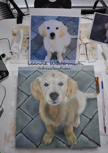 Custom dog portrait of Max golden retriever puppy painting by Leanne Wildermuth