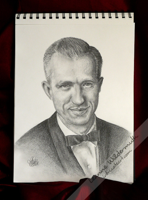 Jerry, custom graphite pencil portrait drawing by Leanne Wildermuth