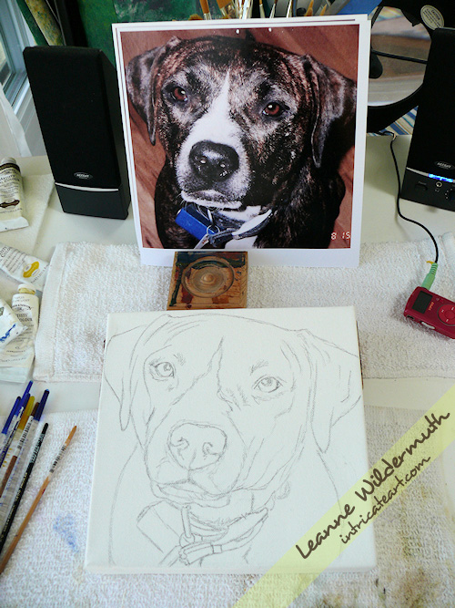 pit bull dog portrait custom painting by Leanne Wildermuth
