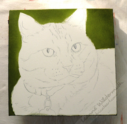 custom cat portrait orange tabby work in progress leanne wildermuth