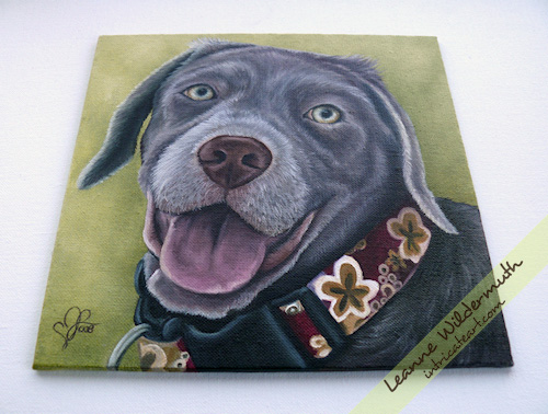Lola silver lab puppy dog portrait painting by Leanne Wildermuth