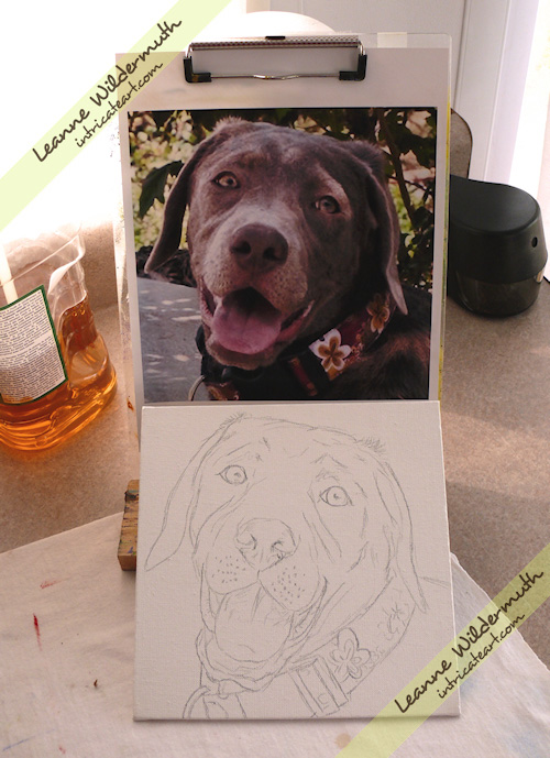 Lola silver lab puppy custom dog portrait painting Leanne Wildermuth