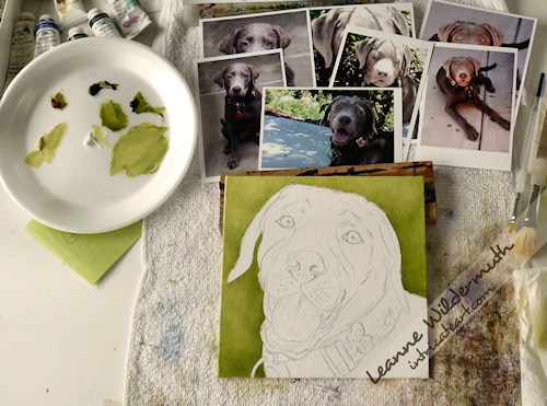 Lola silver lab puppy dog custom portrait in oil by Leanne Wildermuth