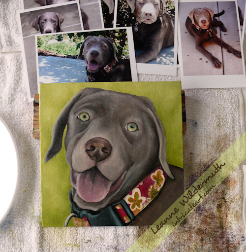 Lola silver lab custom dog portrait by Leanne Wildermuth