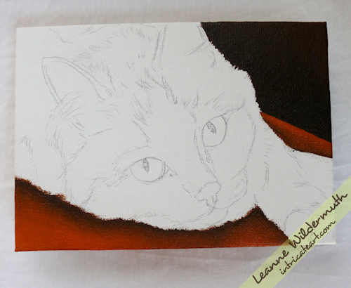 cat portrait orange tabby painting progress by Leanne Wildermuth