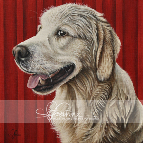 Golden Retriever custom oil portrait by Leanne Wildermuth