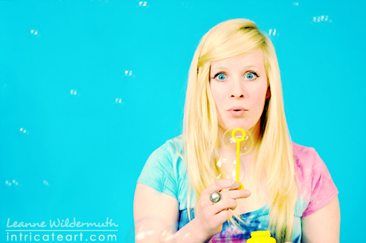 Senior portrait photography Miranda with bubbles by Leanne Wildermuth