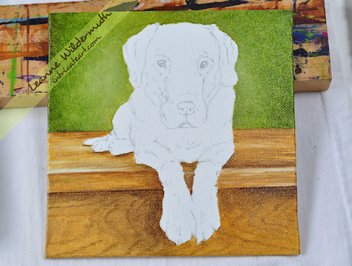 dog portrait chocolate lab painting progress by Leanne Wildermuth