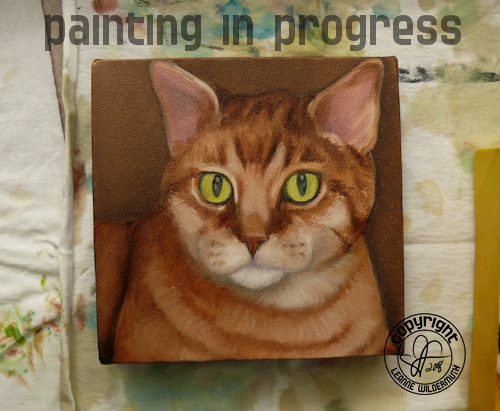 Custom cat portrait orange tabby painting in progress