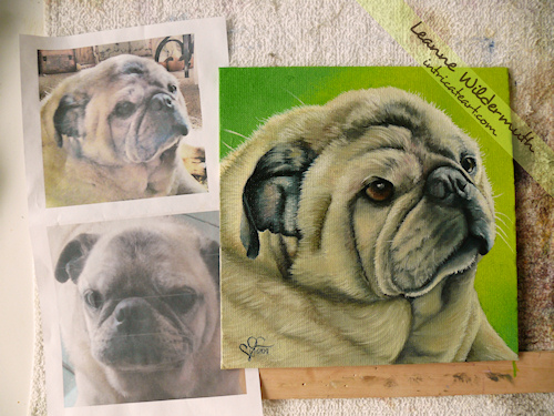 pug pet dog portrait oil painting by Leanne Wildermuth
