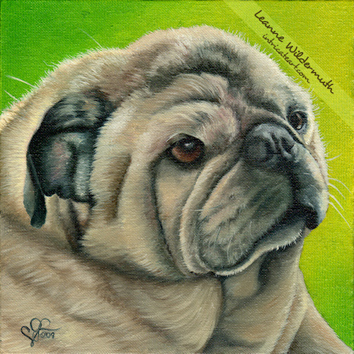pug painting portrait dog art by Leanne Wildermuth