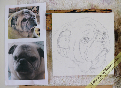 pug dog portrait painting sketch by Leanne Wildermuth