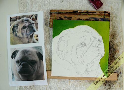 pug dog portrait painting progress by Leanne Wildermuth