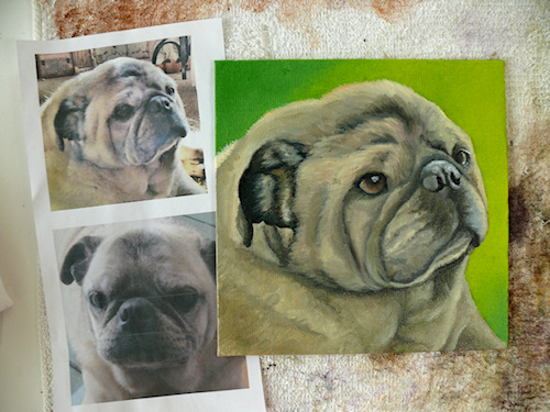 pug dog portrait pete oil painting by Leanne Wildermuth