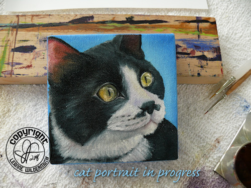 custom tuxedo cat portrait oil painting leanne wildermuth