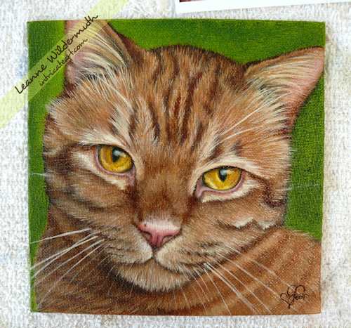 orange tabby cat portrait oil painting by Leanne Wildermuth