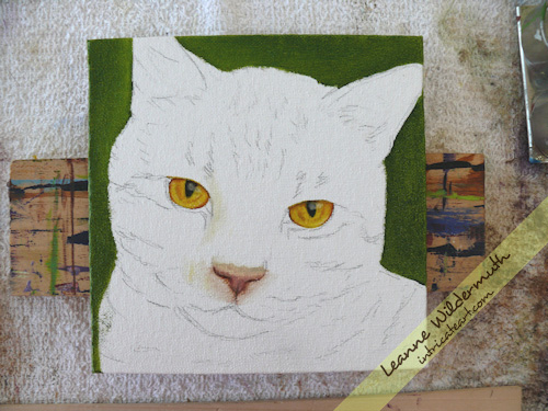 orange tabby cat oil painting in progress by Leanne Wildermuth