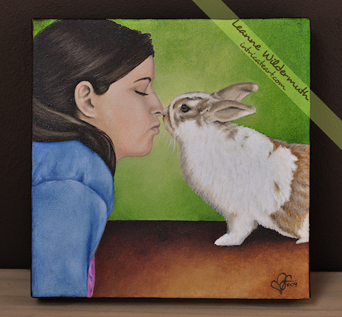 girl and bunny kiss love pet portrait by Leanne Wildermuth