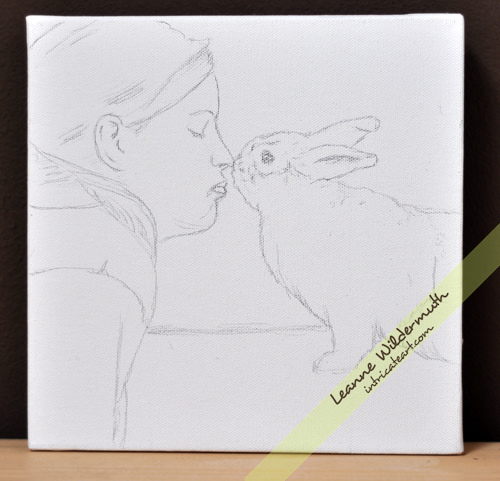 girl bunny kiss love portrait progress by Leanne Wildermuth