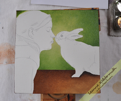 girl bunny kiss portrait oil painting progress by Leanne Wildermuth